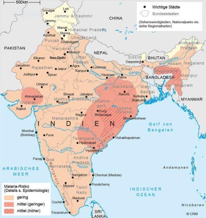 Malaria Indien Karte